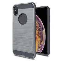 Odporny na wstrząsy hybrydowa podwójna warstwa twardego komputera + ochronna zderzak TPU ze szczotkowaną metalową teksturą tylną pokrywą dla iPhone 11 / 11PRO / 11MAX / X / XS / XR / XS max