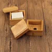 Caja de jabón de bambú natural Bambú Pozo de la bandeja de jabón de almacenamiento Placa de almacenamiento Placa de recipiente Caja de recipiente para baño de baño Baño