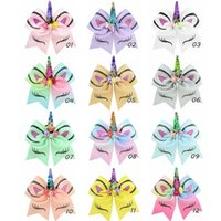 7 Inch Large Sequin Unicorn Bows Glitter Flower Hair Bow Wit...