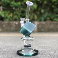 bong en verre tuyau d'eau plate dab 2019 nouveau bécher de forage pétrolier recycleur cube magique avec un bol fumant accessoires 14mm