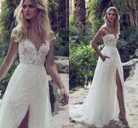 2020 새로운 A 라인 레이스 컨트리 웨딩 드레스 환상 Bodice 보석 법정 열차 빈티지 가든 비치 Boho 웨딩 파티 신부 가운