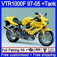Body For HONDA VTR1000F SuperHawk 97 98 99 03 04 05 yellow factory 256HM.27 VTR 1000 F 1000F VTR1000 F 1997 1998 1999 2003 2004 2005 Fairing