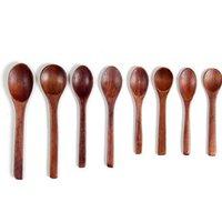 Pintado de madeira Colher de jantar Sopa de chá de mel colher de café Cozinha talheres Eco-Friendly Retro Loiça de madeira