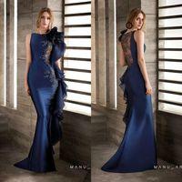 공주 레이스 페르시 2020 새로운 아프리카 이브닝 드레스 새틴 네이비 블루 댄스 파티 드레스 섹시한 저렴한 정장 파티 드레스 2069