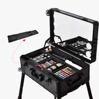 Professionelle Reise kosmetischer Fall mit 8 LED-Licht, 22inch Spiegel, Trolley und Beine, Make-up-Station beleuchteter Make-up-Box