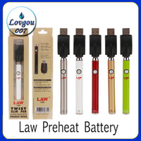 Authentic Law Preheat Batterie mit Bottom Twist Knopf 380mAh Slim Ego Twist Vaporizer mit variabler Spannung für Thick Oil Palm Lo Key