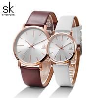 Shengke mulheres dress watches luxo amantes casal relógios homens namorar mulheres impermeáveis mulheres cinta de couro relógio de pulso montre homme