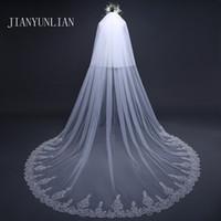 Moda matrimonio velo 5 metri di lunghezza bordo del merletto di velo da sposa con pettine Wedding Accessori Sluier Vestido de Noiva voile de mariée