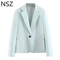 NSZ Kadınlar Gökyüzü Mavi Blazer Tek Düğme Ofis Ceket Uzun Kollu Katı İş Ceket Blazer Mujer