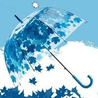 أحدث شفاف PVC الفطر المظلات شبه التلقائي الخضراء مطبوعة أوراق المطر واضح ورقة فقاعة صامد للريح مظلة DDA48