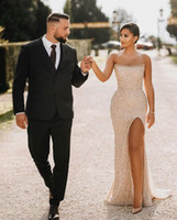 Champagne sans bretelles robes de bal sirène 2020 Sexy High Split Split Robe de soirée longue et de demoiselle d'honneur