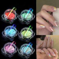 A través del hielo desnuda Aurora Uñas Polvo sirena Espejo Espejo mágico Polvo UV Gel pigmento láser Nail Art Decoración RRA2498
