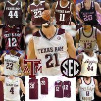 Özel Texas AM Aggies Basketbol Jersey NCAA Kolej Khris Middleton Alex Caruso Josh Nebo Flagg Mitchell Jackson Danuel Ev Sloan