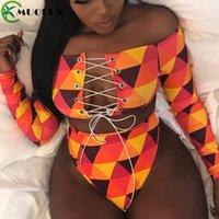 MUOLUX 2020 Thong Mayo Afrika Mayo Baskı Bandaj Artı boyutu Kadınlar Tankini Uzun Kollu Bikini Seti Yüksek Bel Mayo