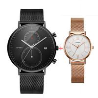 2PCS Черные часы для мужчин Женщины Lover Часы SINOBI Простые стальные сетки Мода кварцевые наручные часы для мужчин Ladies пара Set