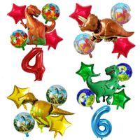 6Pcs Dinosaurier-Folien-Ballone 30 Zoll Zahl Baby-Geburtstags-Partydekoration Jurassic Welttier Kinder Spielzeug Luftballon Großhandel