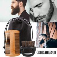 Cheveux Brosses Arrivées Haicar Men's Cuir Bouche Beard + Une combinaison de peigne de moustache # 3.14