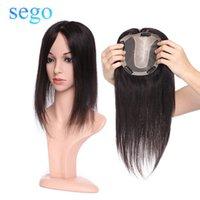 SEGO 15x16cm Human Hair Topper für Frauen atmungsaktive Seidenbasis mit Clip im Haar Toupee Nicht-Remy Haarteil Natürliche Farbe