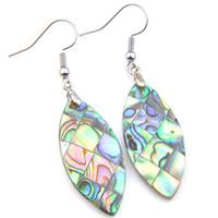 Hohe Qualität 5 Paar Luckyshine Fashion Marquise Grün Ohrring Edelstein Silber Vintage Natürliche Abalone Shell Baumeln Ohrringe Schmuck