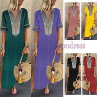 Yaz Kadın Boho Maxi Elbiseler V Yaka Baskı Patchwork Vintage Yan Bölünmüş Bohemia Kısa kollu Uzun etek Rahat plaj giysileri artı boyutu