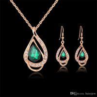 Brautjungfer Schmuck-Set Solid Gold-Ohrring-Halsketten-Anhänger schöner australischer Kristallschmuck indische Schmuck-Set Partei Schmuck-Set
