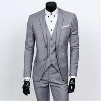 Downton 신랑 턱시도 연한 회색 신랑들 Slim Fit Best Man Suit 웨딩 노치 옷깃 남자 정장 Bridegroom Blazer (Jacket + Pants + Vest)