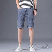 Men's Jeans 2021 Summer Straight Knee Length Denim Shorts High-end Loose Elastic Casual Light Blue Grey