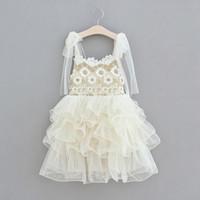 여자 꽃 어린이 레이스 파티 dressess 2020 새로운 아이들 레이스 서스펜더 tiere 얇은 명주 그물 공주 드레스 C6168 드레스 스커트 자수