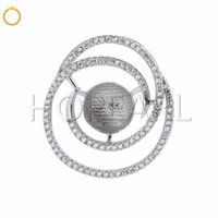 Circle Round Zircons Pave 925 Sterling Silver Pendant DIY Je...