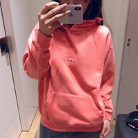 Womens Fashion Luxury Hoodies Winter Pink Paris Solid Color ...