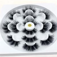 New 7 pares naturais falsos cílios postiços longos cílios maquiagem cílios 3D pestanas vison cílios extensão de vison para a beleza