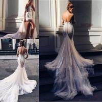 Pallas Couture Sermaid Split Robes de mariée 2020 Nouvelle Église Champagne Train Off-épaule Élégant Jardin de campagne Berta Robes de mariée 2043
