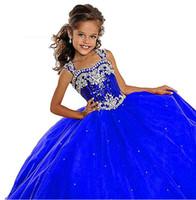 Pageant-Kleider des roten Mädchens 2019 Perlen Kristall Satin Mint grüne Blumenmädchenkleider formale Partykleid für Jugendliche Kinder Größe 3 5 7 8 9