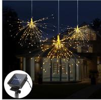 120LED 200 LED Solarlampe Starburst String Licht Kupferdraht Solarpanel Powered Fairy DIY Feuerwerk Weihnachten Explosion Hochzeitslicht