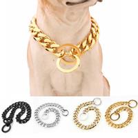 15mm Metal Köpekler Eğitim Bobke Zincir Yaka Büyük Köpekler Pitbull Bulldog Güçlü Gümüş Altın Paslanmaz Çelik Kayma Köpek Yaka Y200515