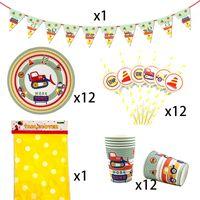 Party Supplies 38pcs für 12kids Baufahrzeug-Thema-Geburtstags-Party-Dekor-Geschirr-Set Teller Tasse oder Becher Straw Banner Tischdecke