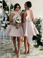 2019 Fashion Bridesmaid Dresses Custom Made Color Special Design Women Wedding Guest Dresses Zipper Back With Bow Girls Short Mini Dresses