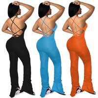 Sexy Backless Frauen Designer-Spielanzug Fashion Solid Lace Up Stacked Flare Pants Jumpsuits neue Frauen-Sommer-Kleidung