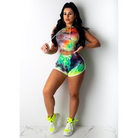 Colorful Print Womens Tracksuits Rainbow Donna Short 2pcs Wi...