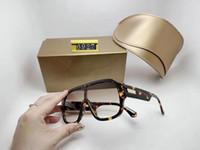 디자이너 럭셔리 남성 여성 브랜드 대형 블랙 선글라스 패션 타원형 태양 안경 자외선 보호 렌즈 코팅 도금 된 프레임 상자 6927