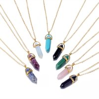 Esagonale colonna di pietra naturale del cristallo di quarzo Collana della pallottola di modo dei monili della catena di colore rosa per il pendente della collana di Women Girl Silver Gold