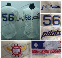 خمر سياتل الطيارين جيم بوتون البيسبول الفانيلة كريم # 56 جيم بوين مخيط قمصان 100th الذكرى التصحيح S-XXXL