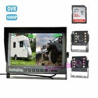DVR DASH CAM、2 x 4ピンの車の前部背面図の背面図カメラ+ 9 IPS AHDスプリットモニタのSDレコーダー付きのバックアップカメラシステム