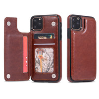 Cassa del raccoglitore della cassa del telefono del Cyberstore con PU Leather Card Holder Cavalletto delle fessure per carta per l'iPhone 11 XS MAX 8 Samsung note10 PLUS