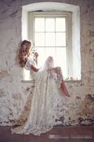 Vestidos de novia de encaje Matched lazo blanco por encargo de marfil elegante de la boda vestidos de la playa de Bohemia 2019 de la manga casquillo con cuentas con cuello en V tribunal tren