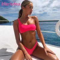 Rosa Verde Karlofea Verão de um ombro assimétrico Bikini V Forma Thong Swimsuit Mulheres Moda Neon Swimwear Sexy Chic Beachwear