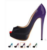 Classic marca inferiore rossa Tacchi alti zeppa Pompe Nude / nero pelle verniciata peep-toe donne del vestito da sposa sandali calza il formato 35-42