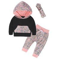 Осень стиль новорожденных девочек одежда мода хлопок девочка одежда набор повседневная цветочные футболки + брюки + оголовье 3 шт. наборы