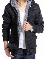 uomini inverno e di autunno più velluto di spessore cashmere con cappuccio casuale maglia marea del cardigan degli uomini di colore giacca 5 taglie S-2XL