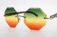 Großhandel High-End-Marke Hot Brille Schild 4189706 Holz Randlos Holz Sonnenbrille Rechteck Unisex Wooen Gläser mit Kasten, Grün, Rot New